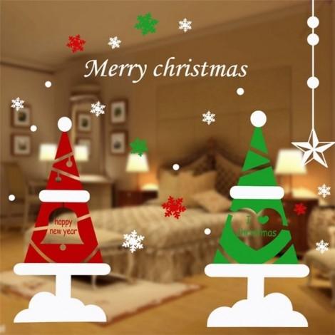 DIY Christmas Wall Sticker Home Decor Christmas Christmas Tree Pattern Window Glass Decorative Wall Decal