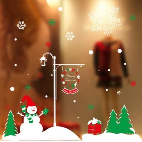 DIY Christmas Wall Sticker Home Decor Christmas Christmas Snowman Pattern Window Glass Decorative Wall Decal