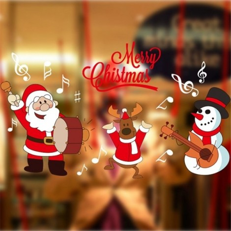 DIY Christmas Wall Sticker Home Decor Christmas Santa Claus Pattern Window Glass Decorative Wall Decal