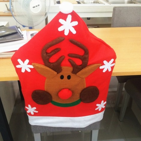 Reindeer Christmas Chair Cover Garden Home Dinner Table Decoration Red