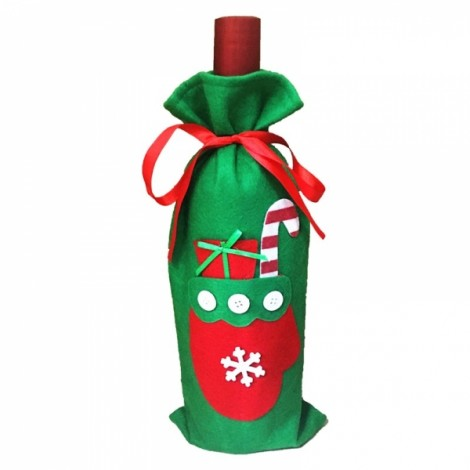 Christmas Glove Style Champagne Wine Bottle Cover Bag Christmas Party Ornament Dinner Table Decor Green