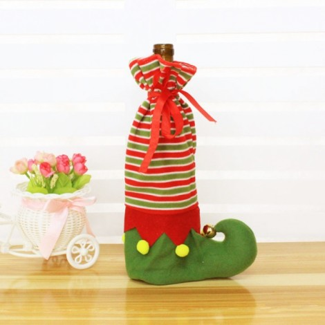 Christmas Shoe Shape Stripes Design Wine Bottle Cover Case Wrap Bag Christmas Party Table Decoration Red & Green