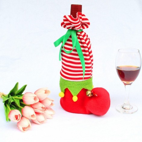 Christmas Shoe Shape Stripes Design Wine Bottle Cover Case Wrap Bag Christmas Party Table Decoration Red & White