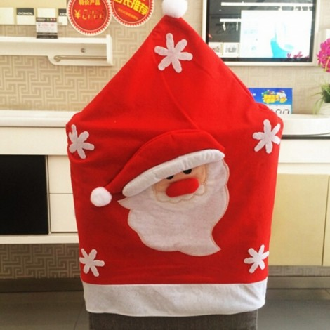 Santa Claus Christmas Chair Cover Garden Home Dinner Table Decoration Red