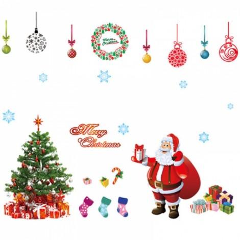 2pcs Christmas Tree Santa Claus Gift Removable Wall Sticker DIY Window Door Home Decoration