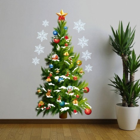 Christmas Tree Stars Removable Wall Sticker Room Decal DIY Wallpaper 70x50cm