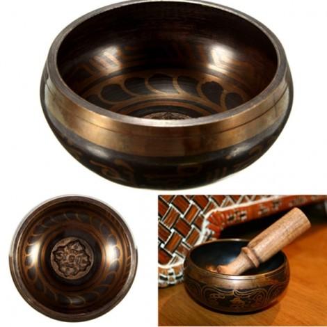 12.5cm Yoga Bowl Tibetan Brass Buddhism Chime Bronze Acoustic Resonance Meditation Well-being Golden