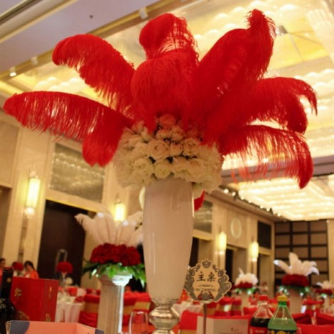 10pcs 12-14 Inch 30-35cm Natural Ostrich Feathers Party Wedding Decoration Red
