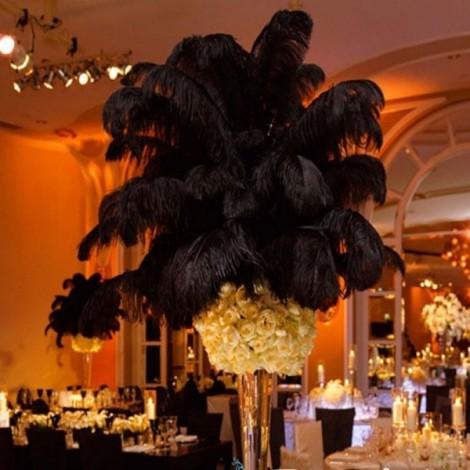 10pcs 12-14 Inch 30-35cm Natural Ostrich Feathers Party Wedding Decoration Black