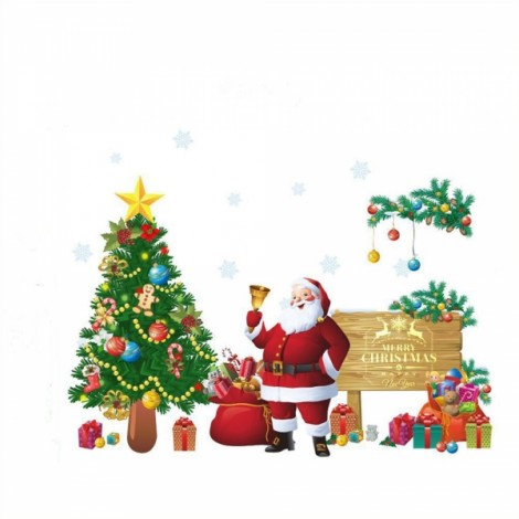 Christmas Tree Santa Claus Removable Wall Sticker Room Decal Wallpaper 90x30cm