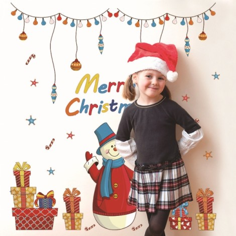 Christmas Snowman Removable Wall Sticker Room Decal Wallpaper 90x60cm