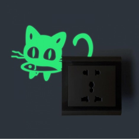 Cute DIY Luminous Switch Sticker Removable Glow In The Dark Wall Decal Home Decor #17 Fish-eating Cat Pattern