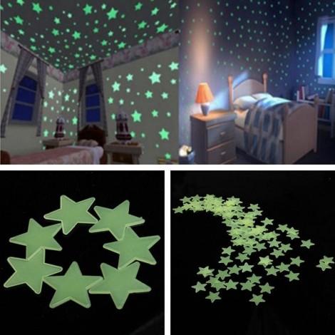 100pcs 3CM Fluorescent Glow Star-shaped Wall Stickers Green