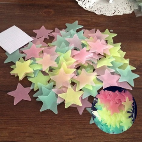 100pcs 3CM Fluorescent Glow Star-shaped Wall Stickers Mix Color