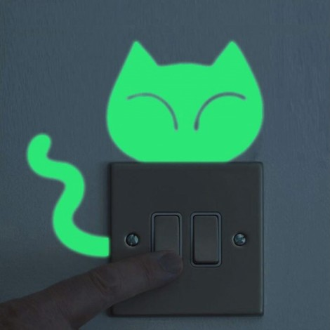 Cute DIY Luminous Switch Sticker Removable Glow In The Dark Wall Decal Home Decor #29 Lazy Cat Pattern