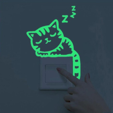 Cute DIY Luminous Switch Sticker Removable Glow In The Dark Wall Decal Home Decor #25 Sleeping Cat Pattern