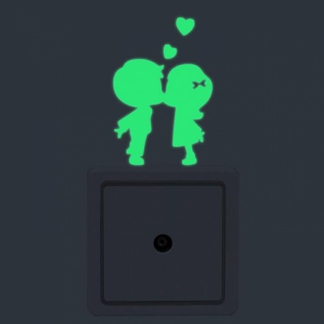 Cute DIY Luminous Switch Sticker Removable Glow In The Dark Wall Decal Home Decor #20 Couples Pattern