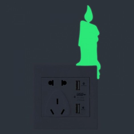 Cute DIY Luminous Switch Sticker Removable Glow In The Dark Wall Decal Home Decor #10 Candle Pattern