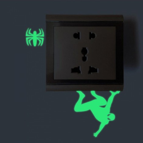 Cute DIY Luminous Switch Sticker Removable Glow In The Dark Wall Decal Home Decor #09 Spider Man Pattern