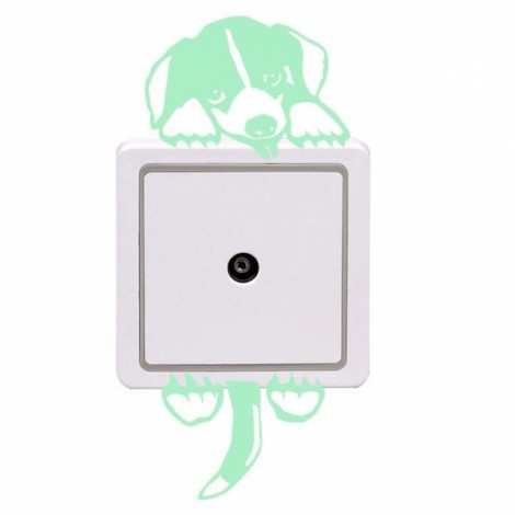 Cute DIY Luminous Switch Sticker Removable Glow In The Dark Wall Decal Home Decor #03 Dog Pattern