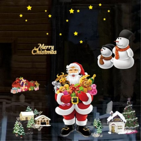 Christmas Santa Claus Removable Wall Sticker Room Decal Wallpaper 70x50cm