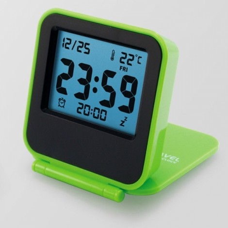 Foldable LCD Digital Travel Desk Alarm Clock Snooze Date Day Thermometer Green