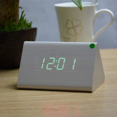 Sound Control Triangle Wooden LED Alarm Clock Digital Thermometer Calendar White Wood & Green Light