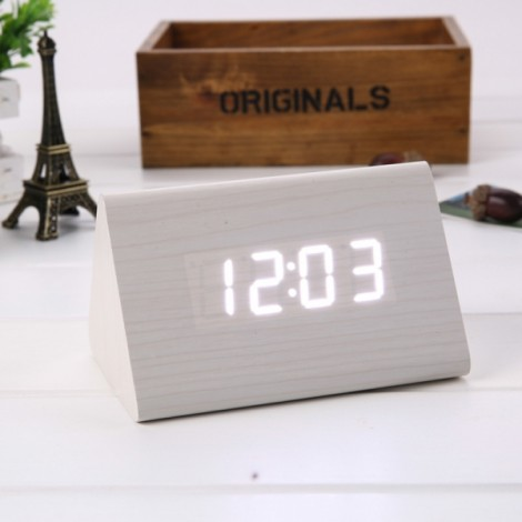 Sound Control Triangle Wooden LED Alarm Clock Digital Thermometer Calendar White Wood & White Light