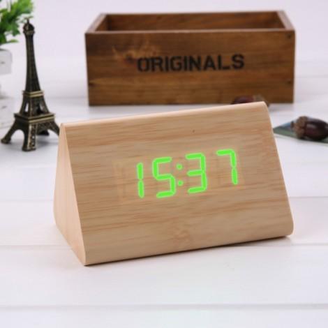 Sound Control Triangle Wooden LED Alarm Clock Digital Thermometer Calendar Bamboo Wood & Green Light