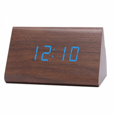 Sound Control Triangle Wooden LED Alarm Clock Digital Thermometer Calendar Brown Wood & Blue Light