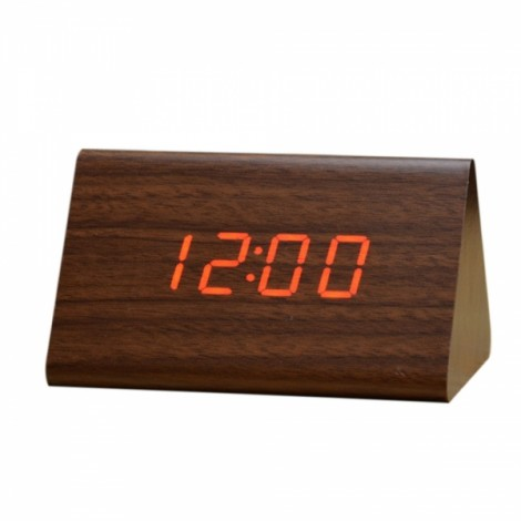 Sound Control Triangle Wooden LED Alarm Clock Digital Thermometer Calendar Brown Wood & Red Light
