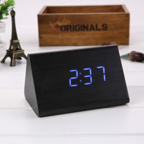 Sound Control Triangle Wooden LED Alarm Clock Digital Thermometer Calendar Black Wood & Blue Light