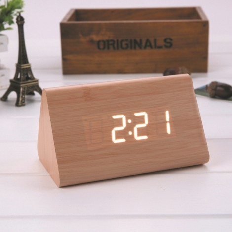 Sound Control Triangle Wooden LED Alarm Clock Digital Thermometer Calendar Bamboo Wood & White Light