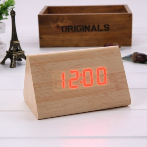 Sound Control Triangle Wooden LED Alarm Clock Digital Thermometer Calendar Bamboo Wood & Red Light