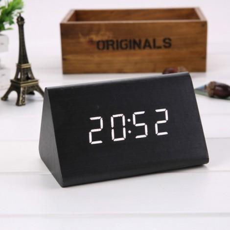 Sound Control Triangle Wooden LED Alarm Clock Digital Thermometer Calendar Black Wood & White Light