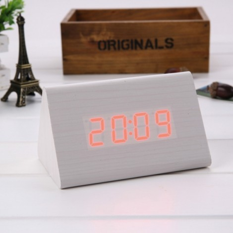Sound Control Triangle Wooden LED Alarm Clock Digital Thermometer Calendar White Wood & Red Light