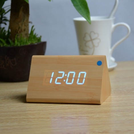 Sound Control Triangle Wooden LED Alarm Clock Digital Thermometer Calendar Bamboo Wood & Blue Light