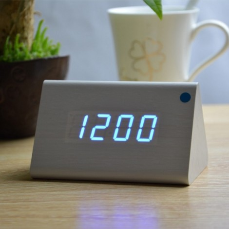 Sound Control Triangle Wooden LED Alarm Clock Digital Thermometer Calendar White Wood & Blue Light