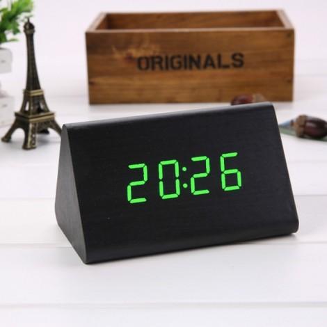 Sound Control Triangle Wooden LED Alarm Clock Digital Thermometer Calendar Black Wood & Green Light