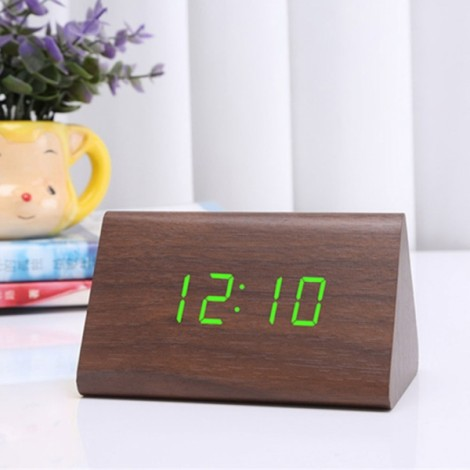 Sound Control Triangle Wooden LED Alarm Clock Digital Thermometer Calendar Brown Wood & Green Light