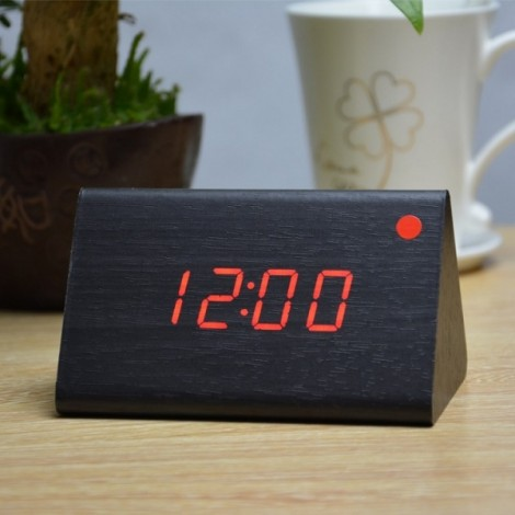 Sound Control Triangle Wooden LED Alarm Clock Digital Thermometer Calendar Black Wood & Red Light