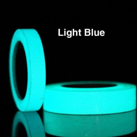 Self Adhesive Luminous Glow-in-the-dark Tape Stage Home Decor Sky Blue 1.5cm*5m