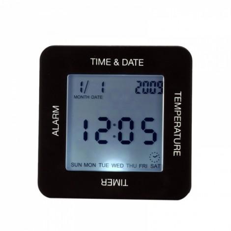 TS-BN65 Multifunctional Four-side Digital Rotation Alarm Clock Timer Black