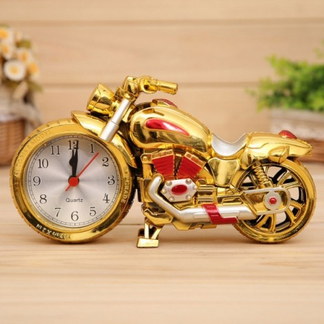 Creative Motorcycle Alarm Clock Watch Motorbike Home Vintage Decor Gift #3 Red & Goldem