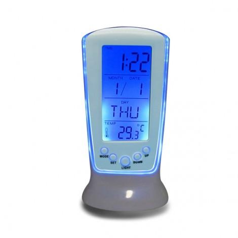 LED Digital Alarm Clock Backlight Music Calendar Thermometer Desktop Clock White