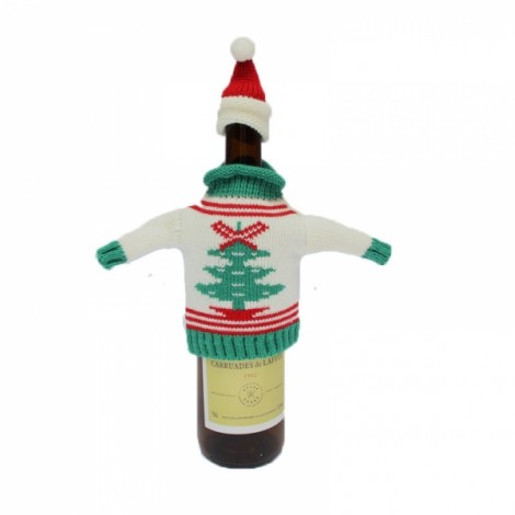 Christmas Knitted Sweater Lid Hat Wine Bottle Cover Wrap Bag Xmas Decoration Christmas Tree Pattern