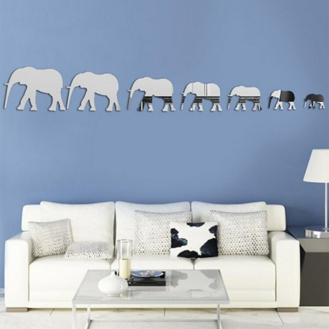Elephant Mirror Sticker for Living Room Bedroom TV Background 3D Stereoscopic Wall Sticker Silver
