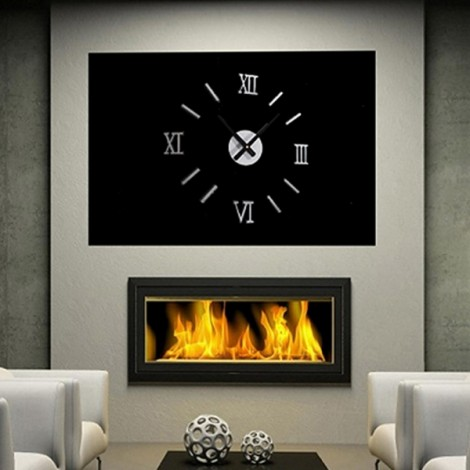 Acrylic Roman Numerals Wall Clock Adhesive Decal Sticker Art DIY Home Decor Silver & Black