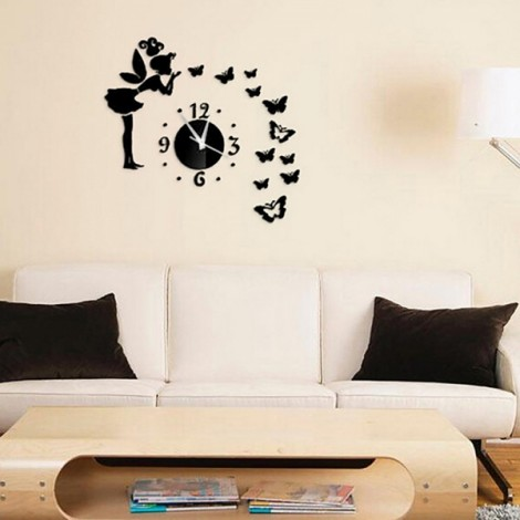 Butterfly & Fairy Modern Mirrors Wall Stickers DIY Acrylic Wall Decals for Home Decoration Black