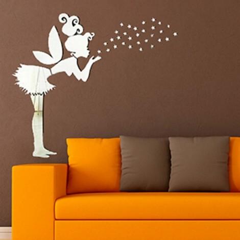 36pcs Angel Fairy Stars Modern Mirror Stickers Wall Home Decal Decor Art DIY Silver